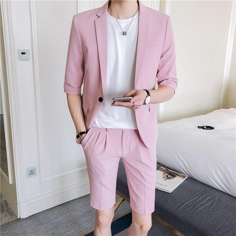 Conjunto de traje para hombre, pantalones ajustados de media manga hasta la rodilla, ropa para hombre de estilo coreano, traje Rosa Blanco de verano, chaqueta con pantalón corto
