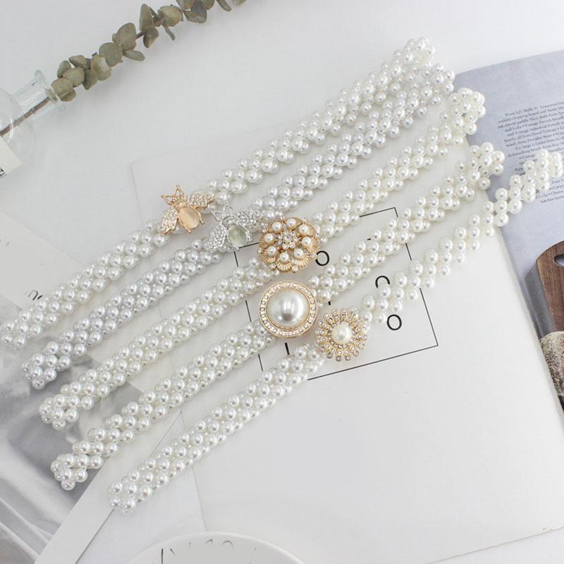 Fashion Pearl Waist Chain Rhinestone Pearls Belt Elastic Buckle Waist Belt Dress Decoration Waistbands Faux Pearl Beaded Girdle faux pearl espadrille flatform sliders