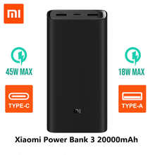 Xiaomi Power bank 3 20000mAh PLM07ZM 3 USB Type C 45W Fast Charging Portable Mi Powerbank 10000 External Battery Pover bank