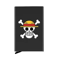 personalized metal credit card holder fashion one piece skull printing travel id cardholder case rfid wallet
