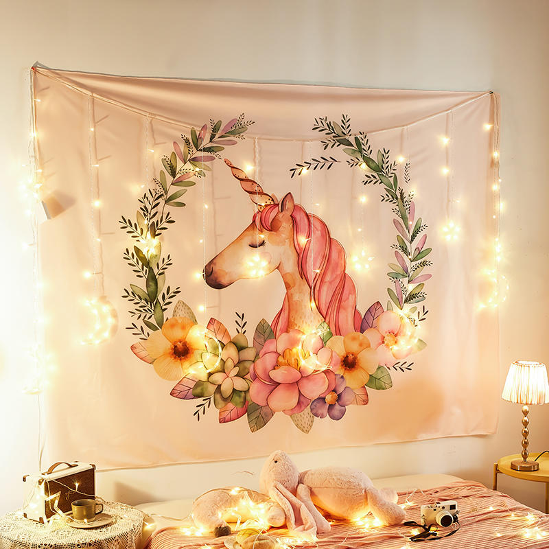 Tapiz de unicornio, Tapiz para colgar en la Pared, Tapiz de Mandala bohemio, Tapiz, Mural, decoración del hogar, tapices con luces, Tapiz psicodélico