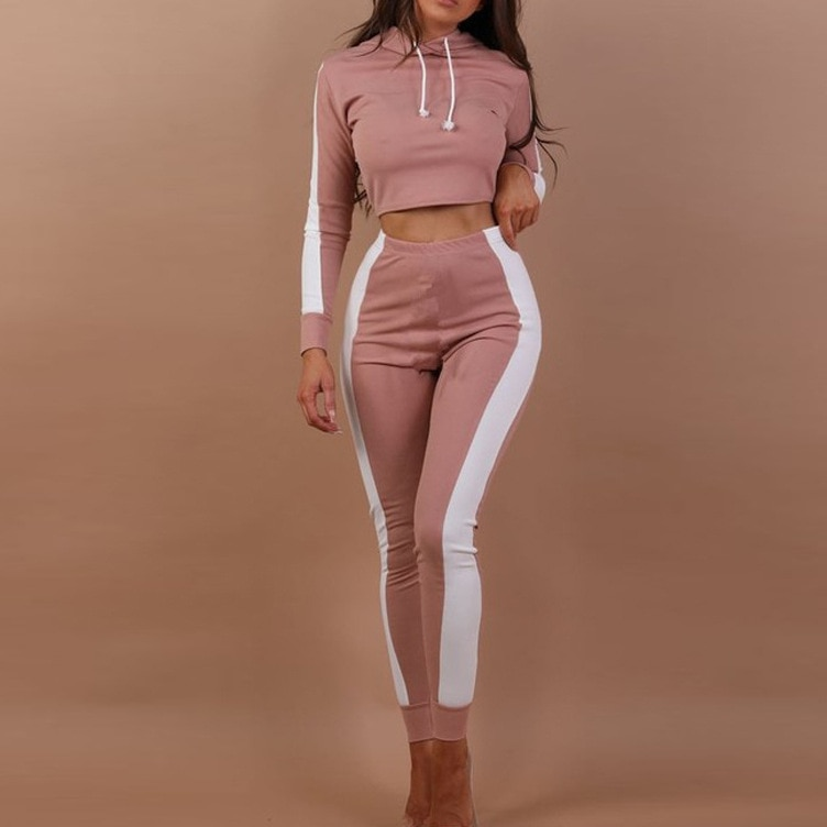 Cute Skinny Set Crop Top And Pants Elastic Waist Full Sleeve Pants Set Two Piece O Neck Wrap Women Set Womens Outfits Nice