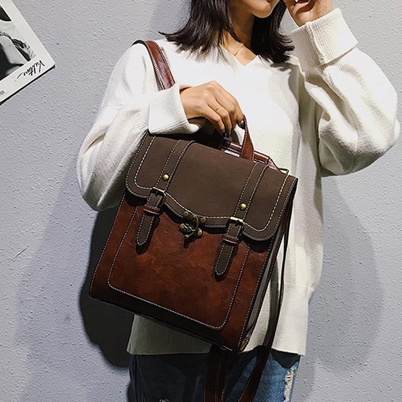 Vintage Pu Leather Women Backpack Preppy Style Backpacks Fashion School Bag College Girl Backpack Sh