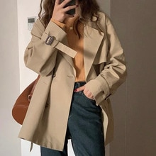 Trench Coat For Women Double Breasted Retro Simplicity Windbreaker Jacket British Style Loose Coat A