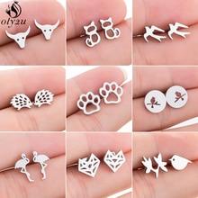 Oly2u Fashion Cute Animal Earrings for Women Kids Stainless Steel Jewelry Earing Lovely Birds Paw Fo