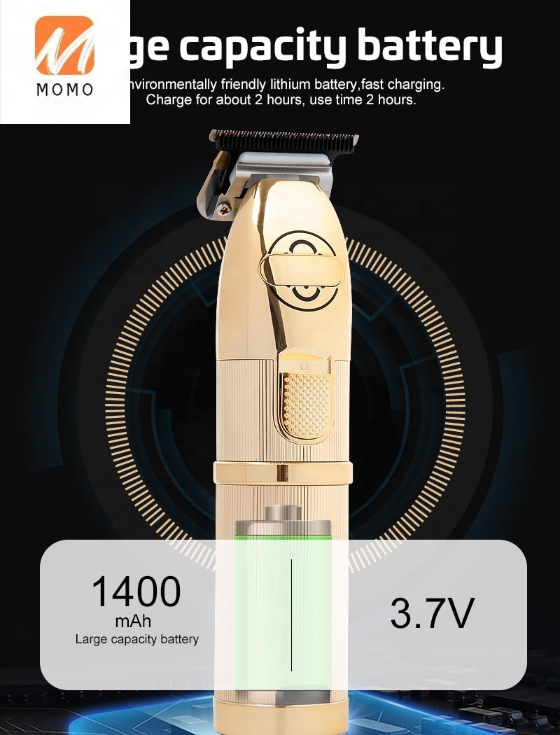 Gold Metal Barber Cutter Hair Cutting Machine Haircut Cordless Hair Clipper Hair Trimmer 100-240V Electric Rechargeable enlarge
