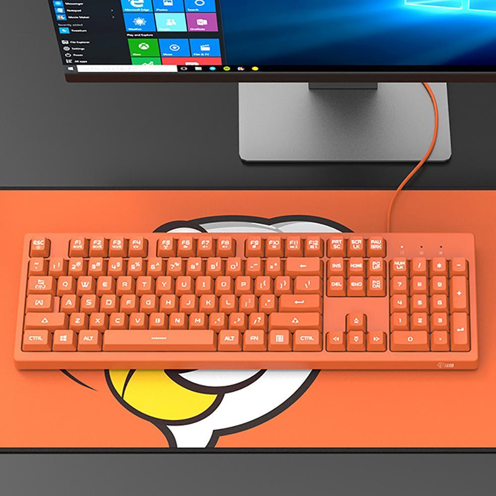 IBen-لوحة مفاتيح غشاء USB ، 104 مفتاح ، وردي ، لأجهزة الكمبيوتر المكتبية