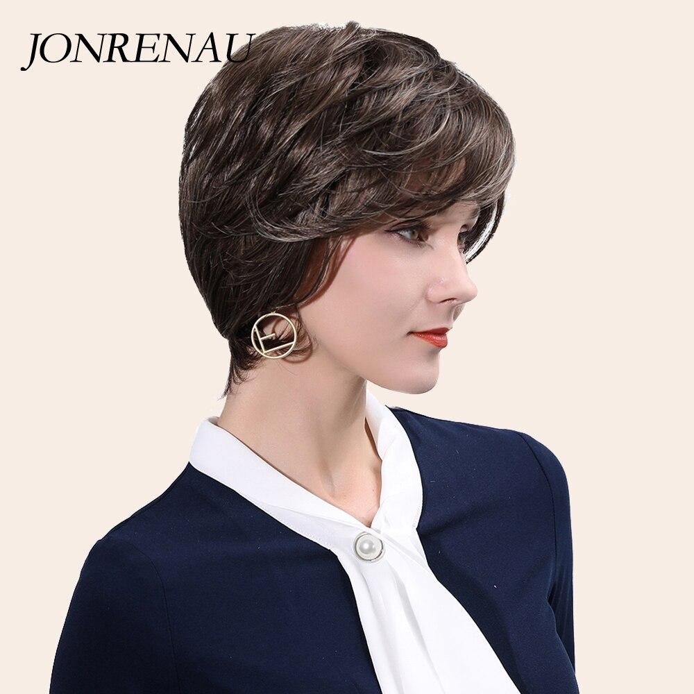 جونيناو 11 بوصة الاصطناعية مستقيم قصيرة عابث قطع براون الباروكات مع الضوء على الأبيض شعر طبيعي للنساء الألياف الباروكات هدية