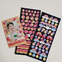 Pegatina láser de onda de arcoíris y corazón de chica coreana, Cuenta de mano bonita, Tarjeta para perseguir estrellas, Material de papelería para decoraciones, 1 unidad