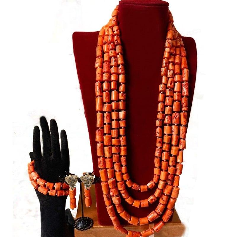 Dudo الأفريقية الزفاف مأدبة زي اكسسوارات 4 طبقات الأصلي المرجان الخرز النيجيري العروس مجوهرات الزفاف مجموعة