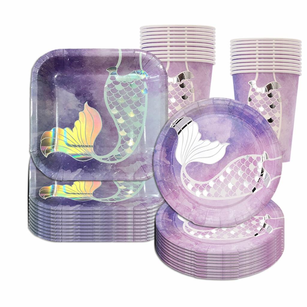 Фото - Mermaid Tail Disposable Tableware Creative Mermaid Plates Under The Sea Mermaid Cups Little Mermaid Girls 1st Birthday Party Dec the little mermaid