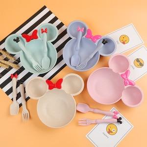 3pcs Wheat Straw Baby Cartoon Tableware Set Children's Dishes Kids Dinner Platos Baby Feeding Plate Training Bowl Spoon Fork