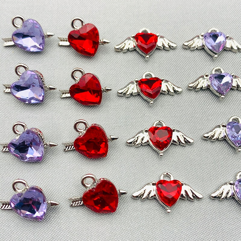 10Pcs Colorful Heart Crystal Charms Metal Love Pendant For diy Jewelry Making Accessories Earrings Necklace Handmade Supplies
