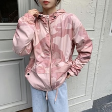 Crescent City Camouflage Hooded Coat for Women 2021spring and Autumn New Korean Style Fashionable To