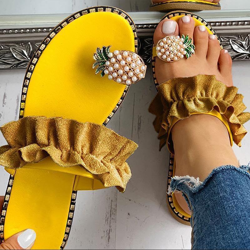 Women Slipper Pineapple Pearl Flat Toe Bohemian Casual Shoes Beach Sandals Ladies Shoes Platform San