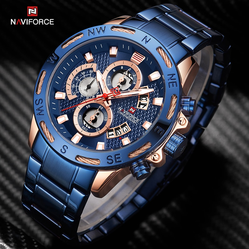 New NAVIFORCE Luxury Watch For Men Casual Sports Stainless Steel Chronograph Shock Resistant Calenda