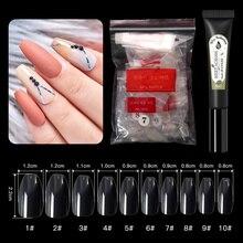 500pcs False Nail Art Tips With Nail Glue French Natural Transparent Coffin False Nails Tips Acrylic