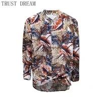 spring summer 2021 men floral shirt print cotton long sleeve male casual top leisure hawaiian blusas amazing clothing
