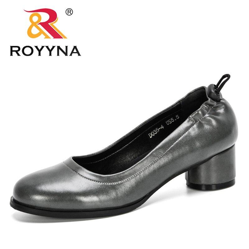 ROYYNA 2020, nuevos diseñadores, zapatos de tacón de punta redonda a la moda para mujer, zapatos de vestir de ocio para mujer, zapatos de tacón alto, calzado para boda, Tenis Femenino