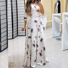 Boho kobiety lato dekolt w serek Maxi sukienka słodka 3/4 rękaw długość podłogi kwiecista sukienka letnia sweter zasznurować podróż wygląd sukienki w stylu Boho