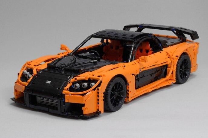 Технический автомобильный конструктор RX-7 г., спортивный автомобиль Фортуны «сделай сам», Детская развивающая игрушка, подарок, модель moc-57488