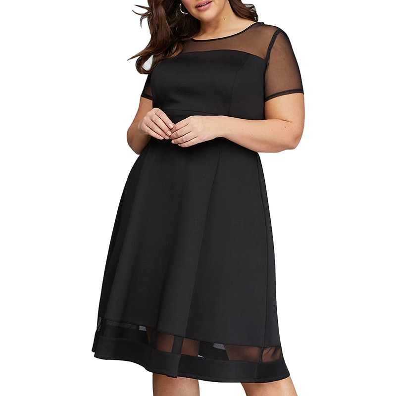 Big size 9XL dress for Fat MM Woman Summer dress Loose mesh short sleeve plus size dresses women clothing party dress vestidos