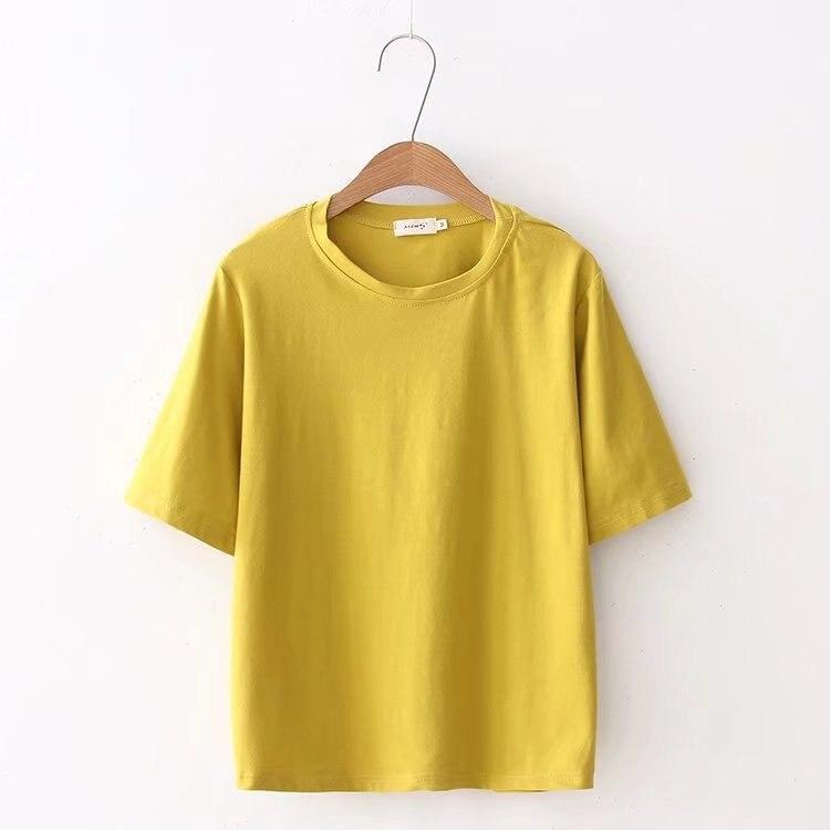 2018 summer wear new style woman loose fitting T-shirt short sleeves regular short white T-shirt girl