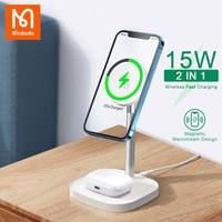 Mcdodo 2 в 1 настольное магнитное Беспроводное зарядное устройство для iPhone 12 11 Pro Max Air Pods гарнитура подставка для телефона Magsafe Быстрая зарядка 15 ...