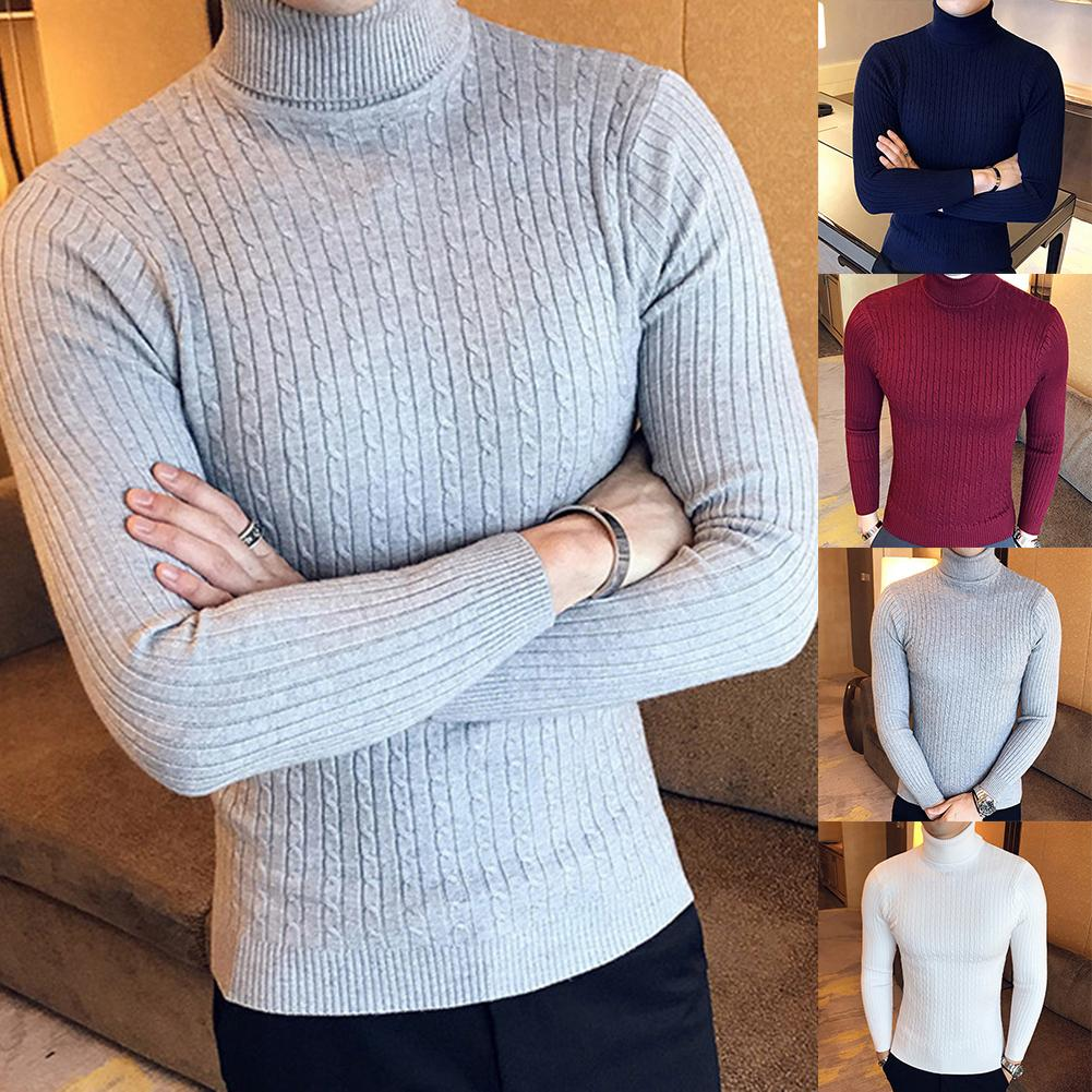 Зимний мужской пуловер свитера Однотонный свитер с длинным рукавом и воротником