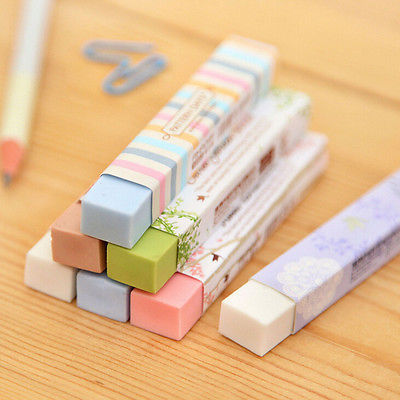 5Pcs Cube Pencial Kawaii Eraser Cute School Supplies Stationery Erasers Correction Products 3pcs set cat paw erasers kawaii stationery pencil cap erasers for kids correction tools pen topper eraser set school supplies