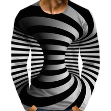 Mens Shirts Graphic Optical Illusion Plus Size Print Long Sleeve T-shirts Spring Summer Streetwear Exaggerated Round Neck Tops