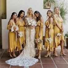 Amarelo Da Dama de Honra Ruffles Vestido Spaghetti Vestido de Festa Curto Frente Longa Voltar Dama de Honra Vestidos De Convidados Do Casamento vestido de dama de honor