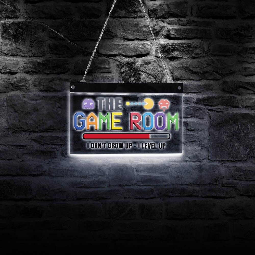 أنا لا يكبر أنا رافعة حتى لعبة غرفة ديكور LED مضاءة علامات جدار الفن بكسل الإلكترونية الجدار ضوء اللاعبين هدية مضيئة العرض