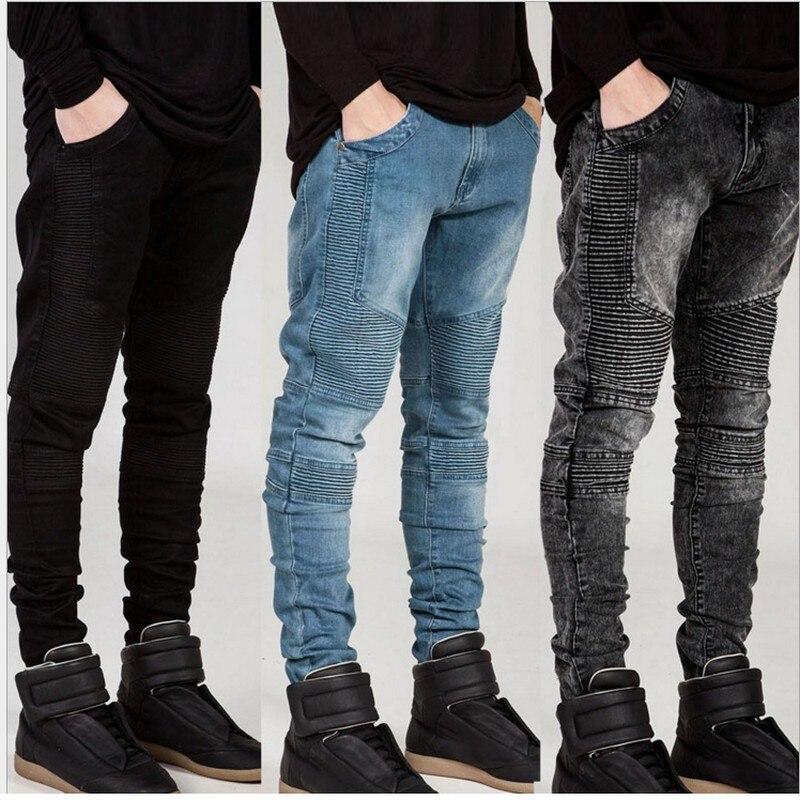 Джинсы мужские рваные в байкерском стиле, модные мотоциклетные облегающие брюки из денима, джоггеры скинни, черные белые синие