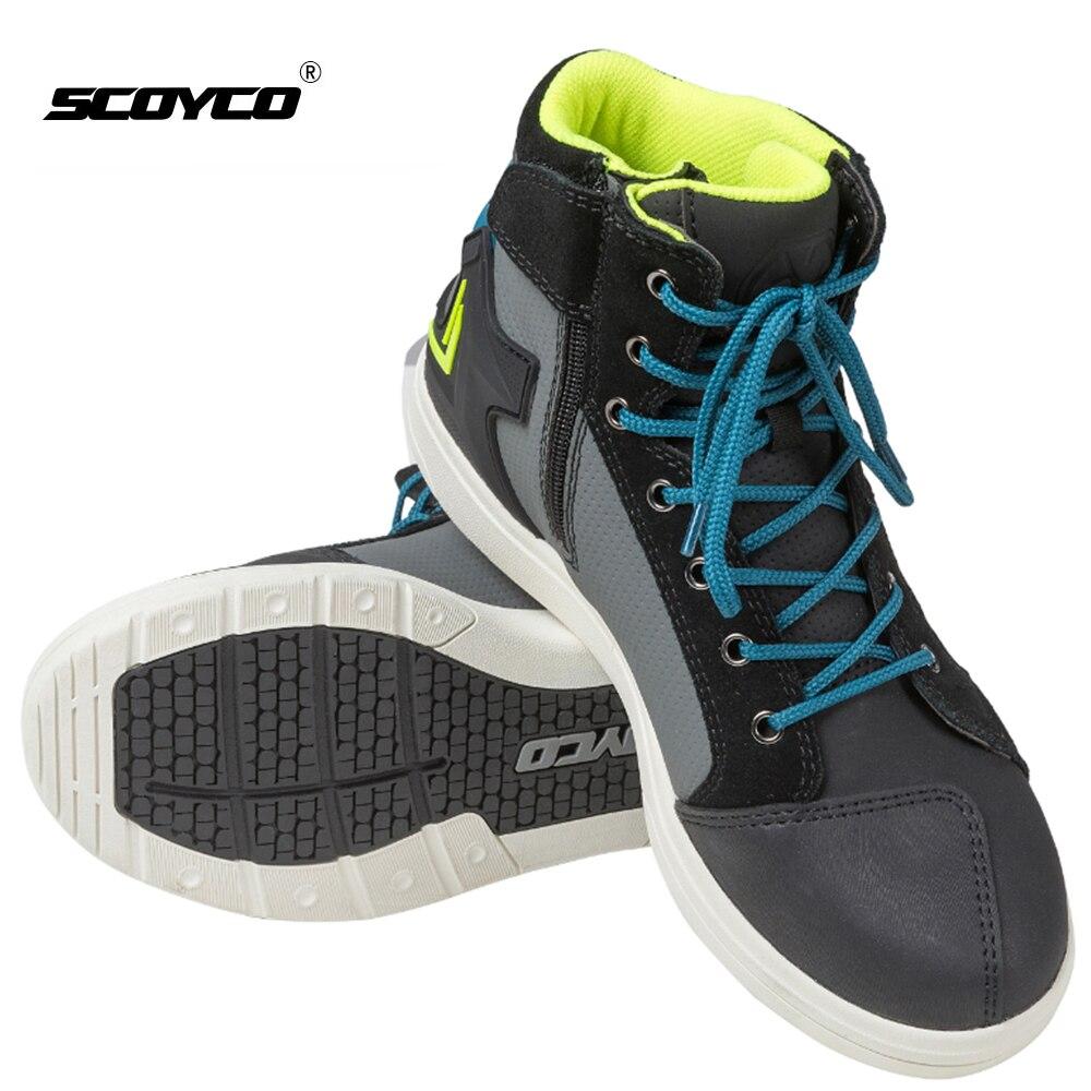 SCOYCO-أحذية للدراجات النارية للرجال ، وأحذية موتوكروس مقاومة للماء ، وأحذية من الألياف الدقيقة والجلود غير الرسمية ، وأحذية ركوب الدراجات الن...