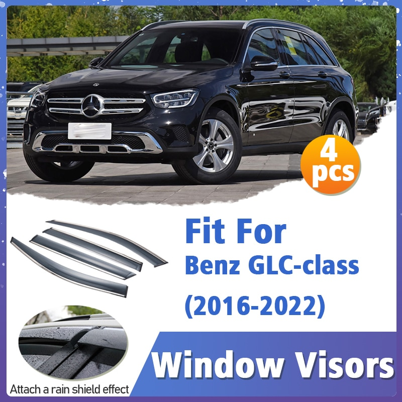 Window Visors Guard for Benz GLC-class X253 2016-2022 Vent Cover Trim Awnings Shelters Protection Deflector Rain Rhield 4pcs