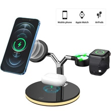 3 in 1 Qi Fast Wireless Charger Dock Stand For Apple Watch AirPods iPhone 12 Pro Max Magsafe Phone Q
