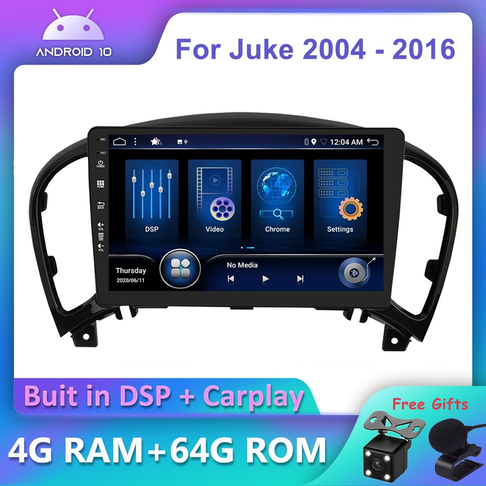Bosion أندرويد 10.0 DSP CarPlay مشغل أسطوانات للسيارة راديو مشغل وسائط متعددة لنيسان Juke 2004 - 2016 2 الدين لتحديد المواقع والملاحة DSP IPS AHD DAB