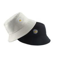 Летняя шляпа с вышивкой маргариток, Женская хлопковая модная Солнцезащитная шапка для девочек, двусторонняя шляпа с ромашками Бобом и цвет...