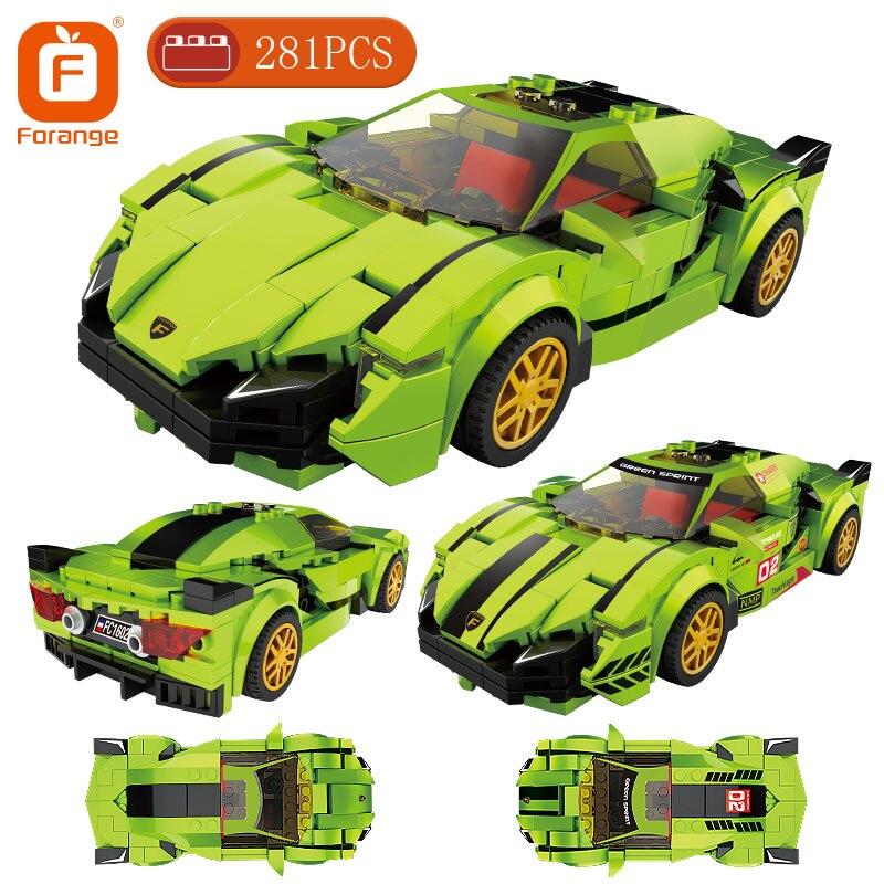 Forange Building Blocks Super Speed Sport Car  Pull Back Vehicle Model Bricks Birthday Gift for Boy