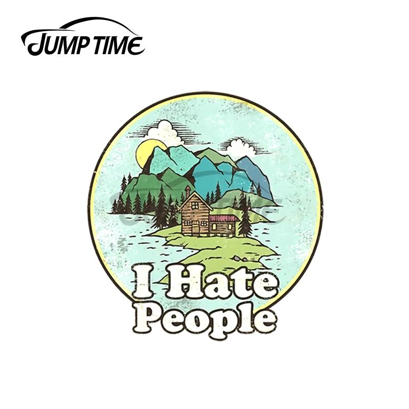 JumpTime 13 x 11.8cm For I Hate People Vintage Camper Car Stickers Windows Scratch-proof Cartoon Vinyl Car Wrap Waterproof Decal