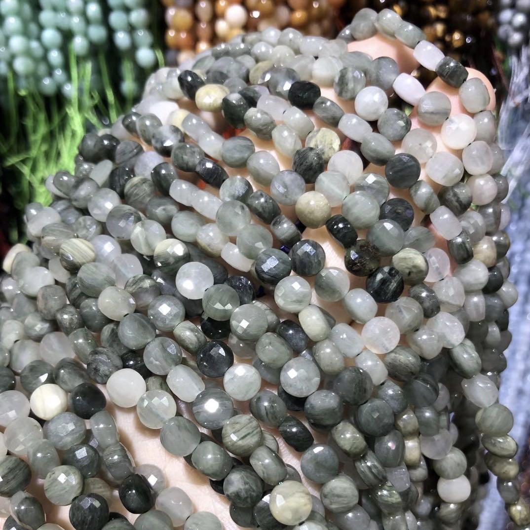 Novo clorito oblate facetado contas de pedra natural fazendo para jóias diy pulseira colar charme acessórios tamanho 6mm comprimento 38cm
