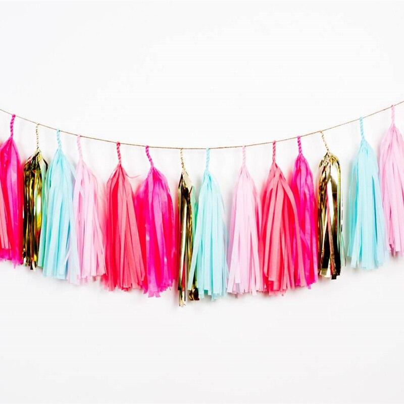Borla de papel guirnalda de papel Banner para sirena bautismo boda cumpleaños DIY decoración para colgar en fiestas proveedores