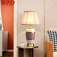 wpd ceramic table lamps pink copper desk light luxury modern fabric decorative for home living room dining room bedroom