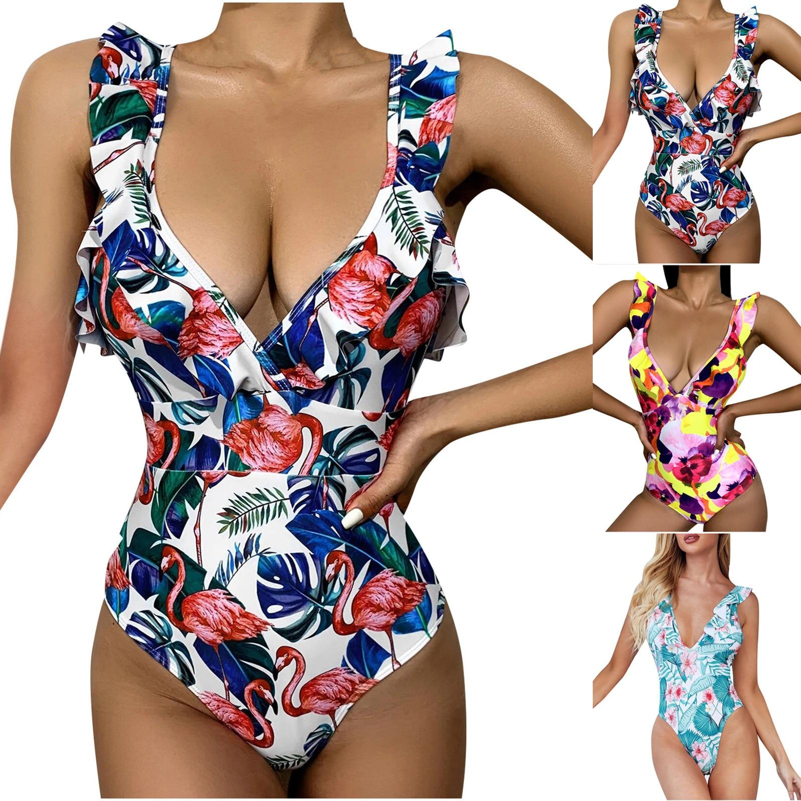Swimsuit Sexy One Piece Fashion Women Swimwear V-Neck Printing Ruffle Siamese Swimsuit Bikini Swimming Suit bañadores mujer 2021