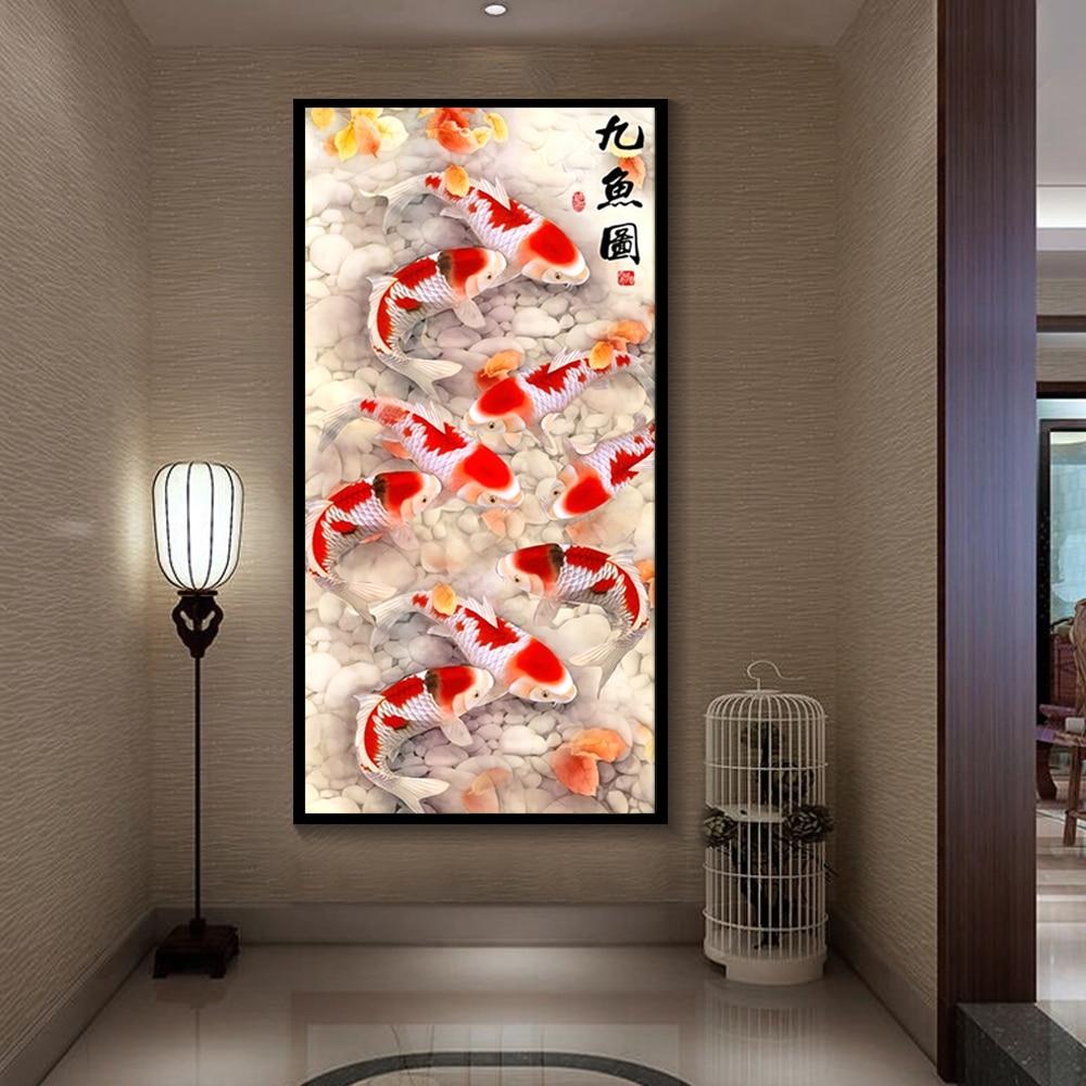 Cuadro de arte para pared de alta definición, lienzo de pintura de pez Koi estampado en flor sobre lienzo, póster para sala de estar, decoración moderna sin marco