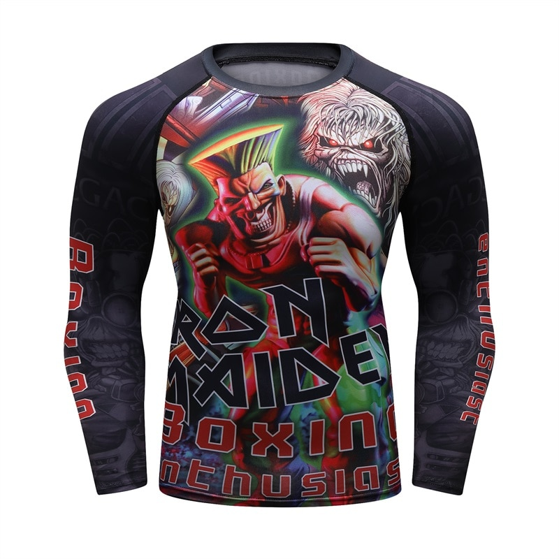 Zombie New Mens Compression Tight Skin UFC camiseta MMA BJJ mangas largas 3D imprime Rash guard Fitness Base capa hombre tapas desgaste