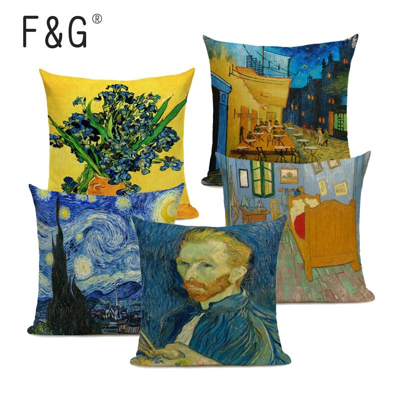 Фото - Van Gogh Oil Painting Art Decorative Cushion Cover Linen Pillowcase for Sofa Car Chair Decor Square 45x45CM Pillow Cover van gogh oil painting series decorative pillowcase gauguin chair vase bouquet forget me not print sofa cushion cover 45x45cm