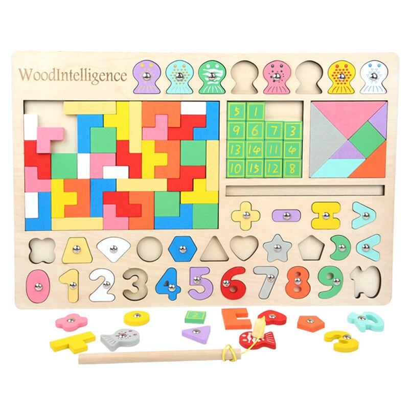 Los niños Multi-funcional de los niños juguetes de madera Montessori rompecabezas Puzzle Jigsaw Puzzle con números informática Rusia Plaza Huarong J