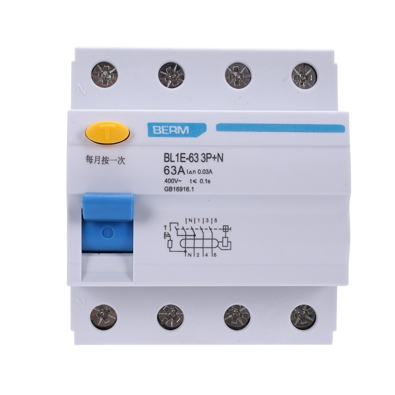 BL1E-63 3P+N 63A RCCB Residual Current Circuit Breaker 400V 30MA Electric Leakage Protection Mini Circuit Breaker